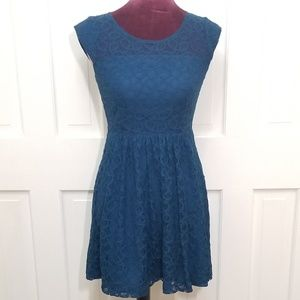 FOREVER 21 - LOVE 21 Teal Lace Skater Dress